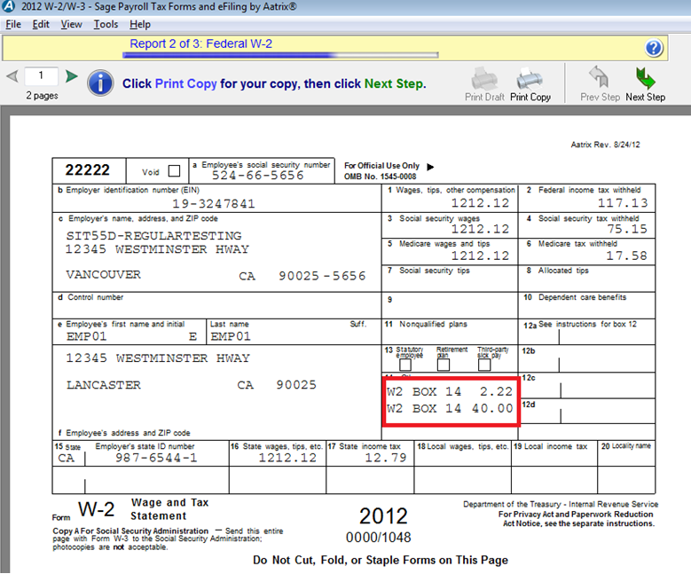 Corrections For Handling Of Multiple Box 14 On 2013 W 2 Form