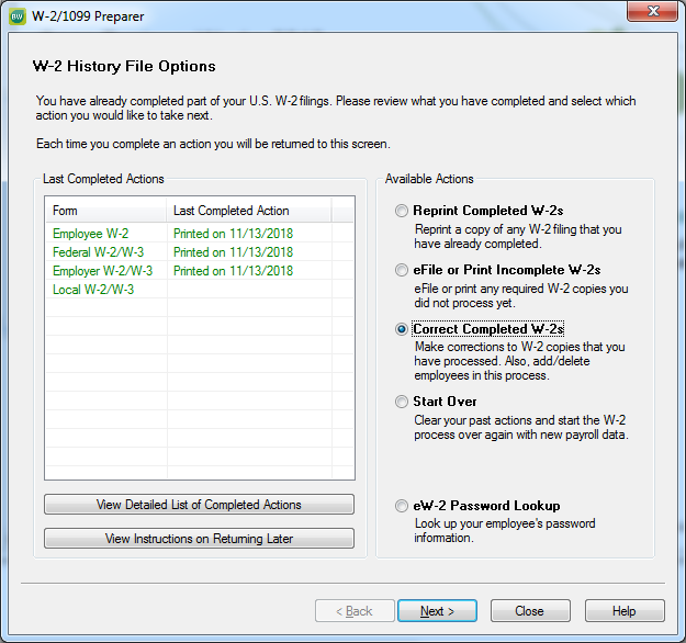 How to print corrected W-2 forms (W-2C)