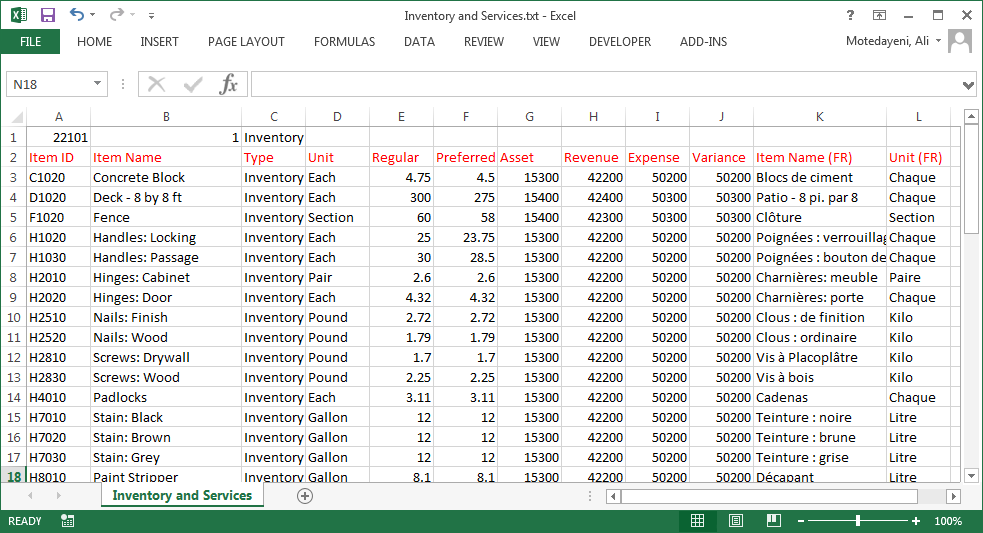 Exporting and importing inventory and services data using CSV format