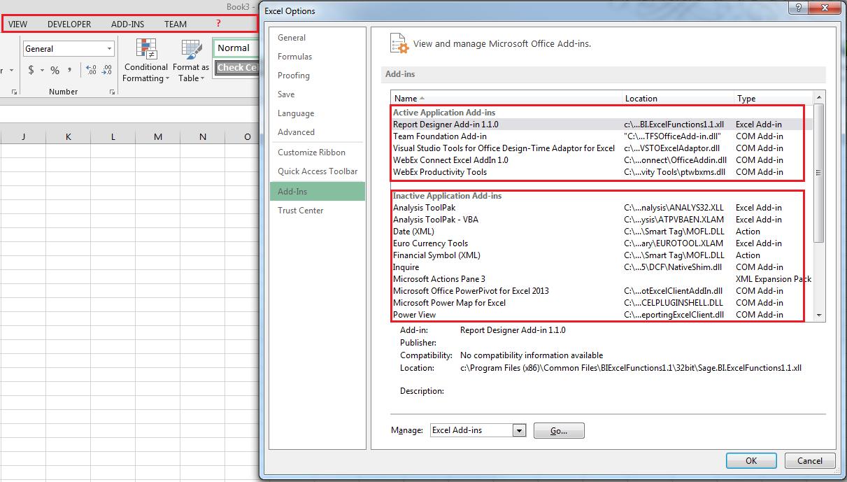 BI Generator / BI Tools missing in excel in a Terminal